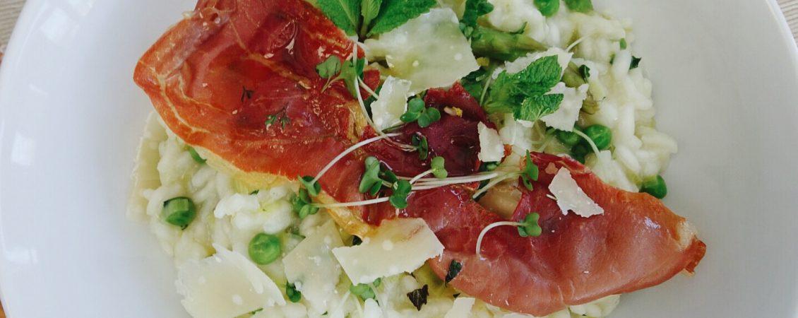 Pea Asparagus Mint Risotto with Prosciutto